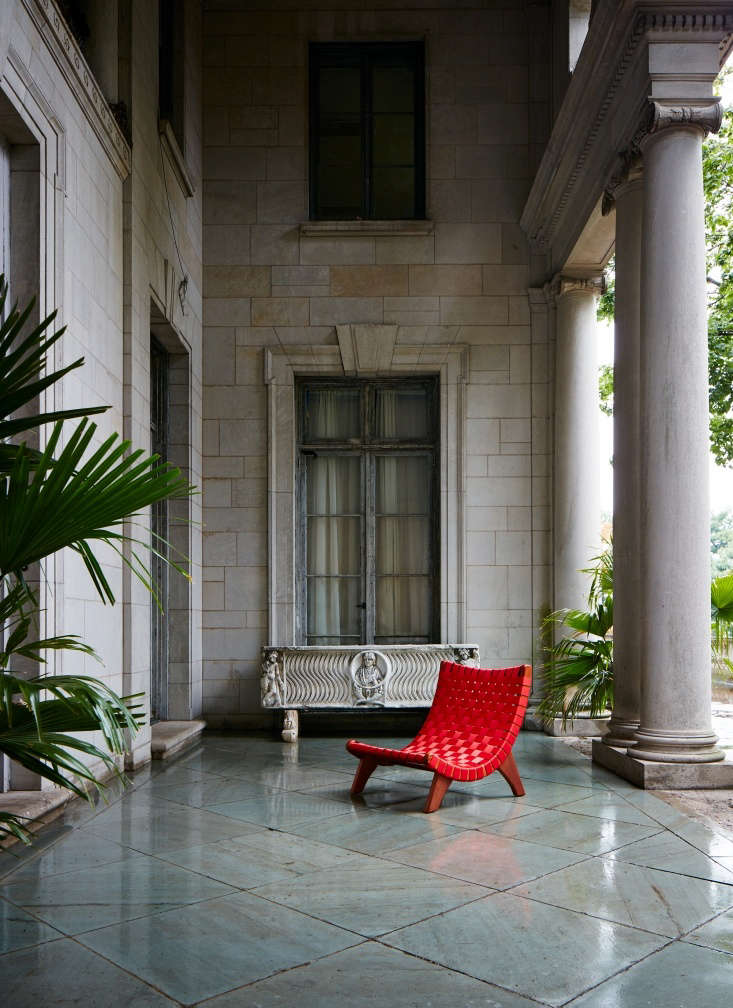 Mexican Bauhaus Wood and Leather Furniture from a Midcentury Master Reborn TheSan Miguelito Lounge Chair is suitable for outdoors (as shown here, in woven red nylon) or in (with a woven leather seat).