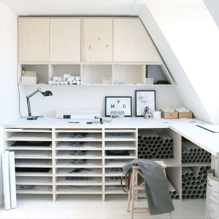 Koster tailor-made her open storage and wraparound workspace.