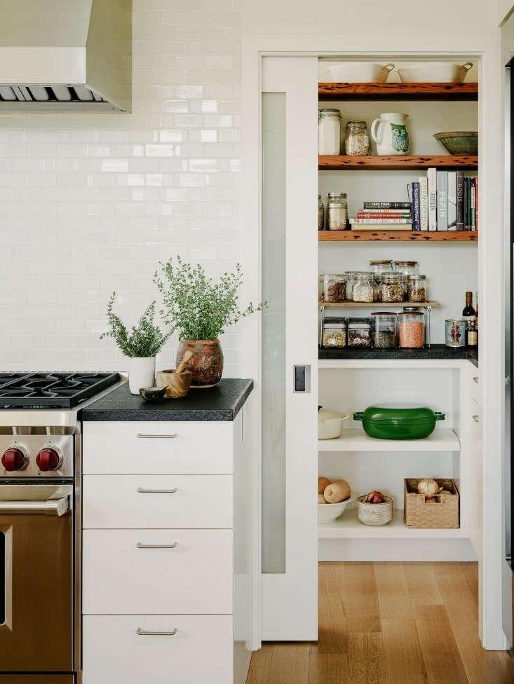 malcolm davis white tile backsplash pantry kitchen wood floors