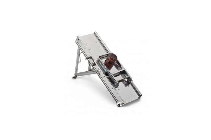 The Cutting Edge 10 Favorite Mandoline Vegetable Slicers Another Bron Coucke Mandoline Vegetable Slicer has the standard slicing capabilities with the option for decorative slices. It&#8\2\17;s all stainless and has a wood handle; €\203 (\$\240) at Manufactum in Germany.