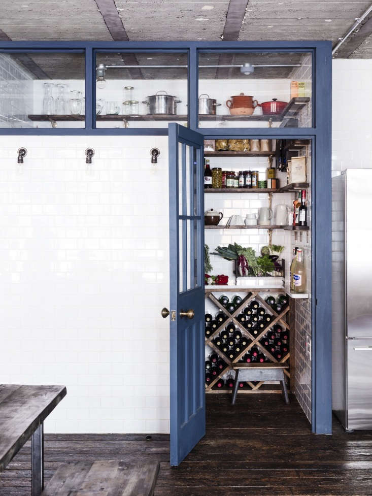 """A tiled pantry cum wine cellar in an industrial London loft by interior designer Mark Lewis. See more in A """"Modern Victorian"""" Loft in London by Mark Lewis.Photograph by Rory Gardiner, courtesy of Mark Lewis."""