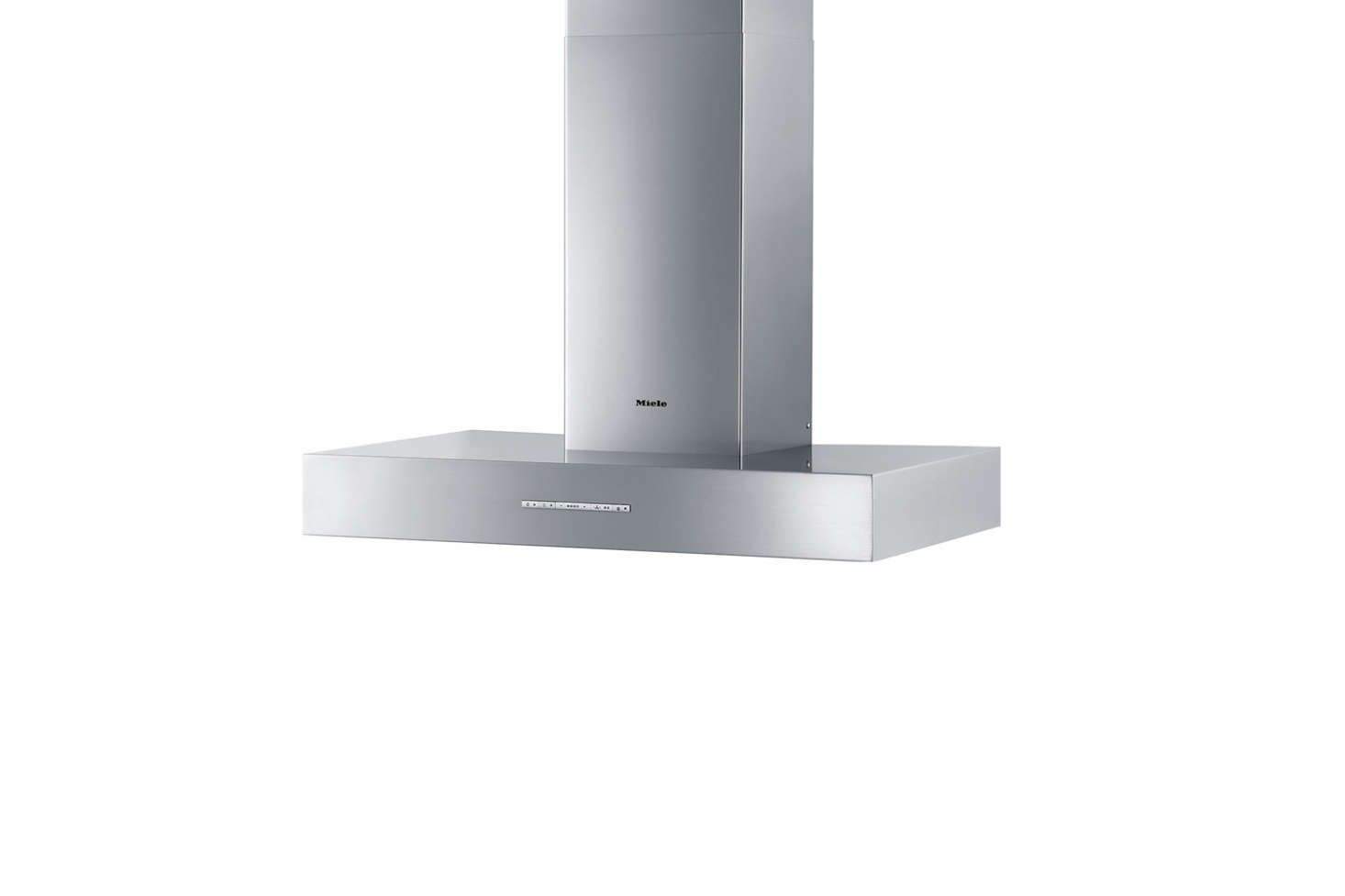 Miele's Puristic Arca Wall Mount Chimney Hood has durable -layer grease filters, light-touch switches, and powerful radial blowers on both sides. It&#8