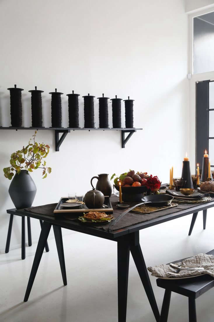 The March Thanksgiving table is set on a Black Sawhorse Table from Blackcreek Mercantile & Trading Co.; it&#8