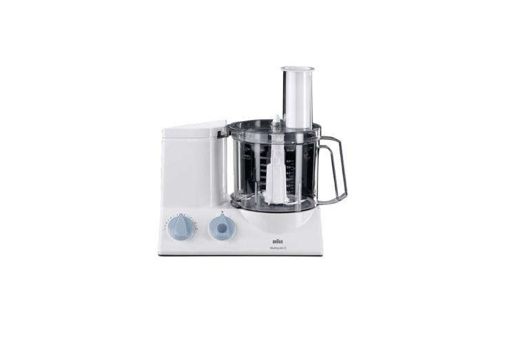 10 Easy Pieces Food Processors The Braun Multiquick Kitchen Machine has a 600 watt motor with variable speeds from 300 RPM to \2,000 RPM. It has a nine cup capacity and walks the line between food processor (its main function for chopping, slicing, shredding, and grating) and stand mixer (with additional options for kneading, mixing, and blending). It can be sourced through Braun and Braun vendors for around \$\199.