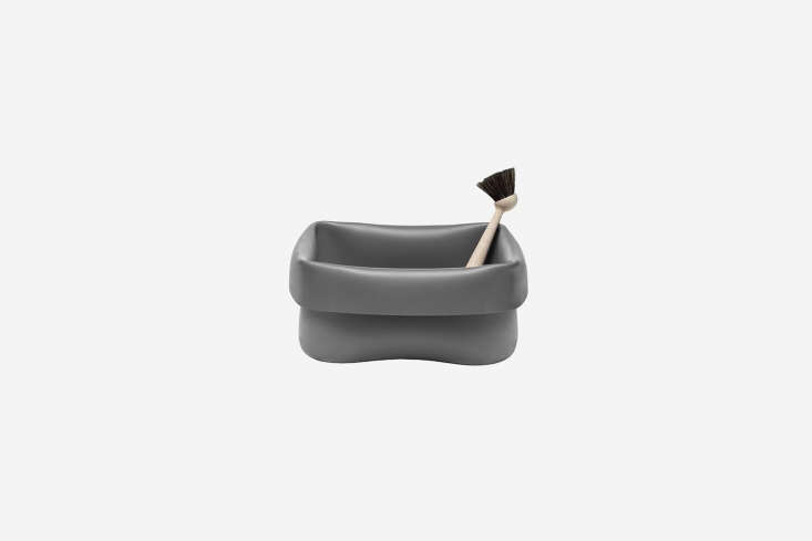 The Normann Copenhagen Washing Up Bowl and Brush has a gray rubber bowl and beech brush; $87.50 at Normann Copenhagen.