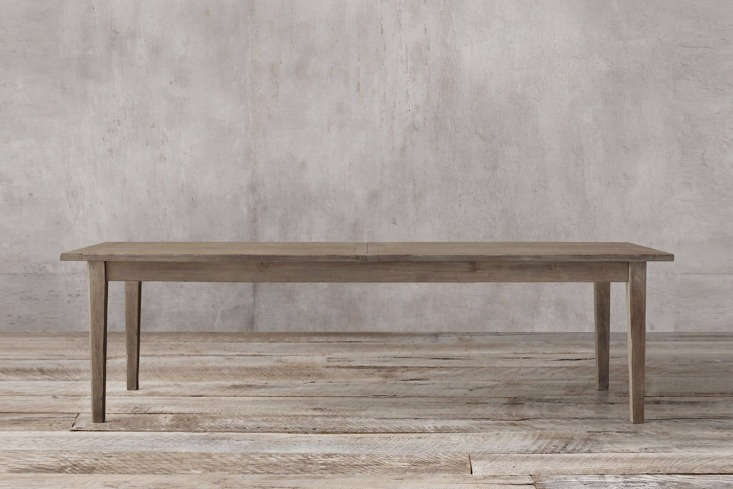 The Boulangerie Table from Restoration Hardware is available in several finishes and sizes; shown is the 96-inch-longBoulangerie Table in distressed reclaimed pine; $loading=