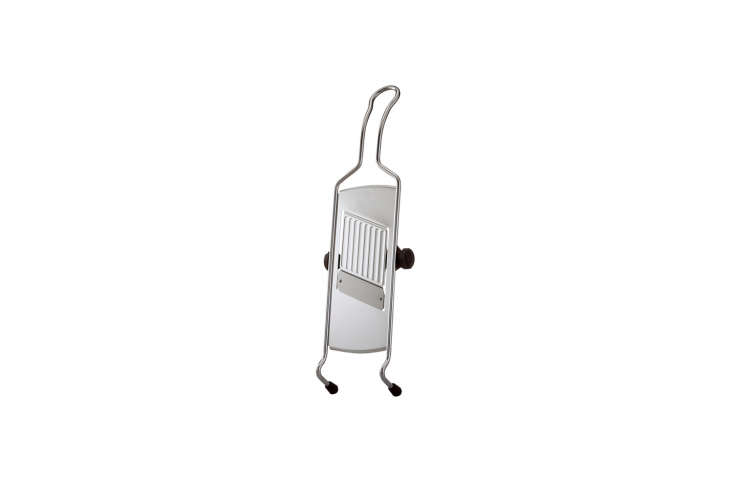 The Cutting Edge 10 Favorite Mandoline Vegetable Slicers TheRösle Adjustable Slicer has \1\1 different options for vegetable thickness, a stainless steel replaceable blade, nonslip feet, and a handle for hanging; \$70 at Sur la Table.