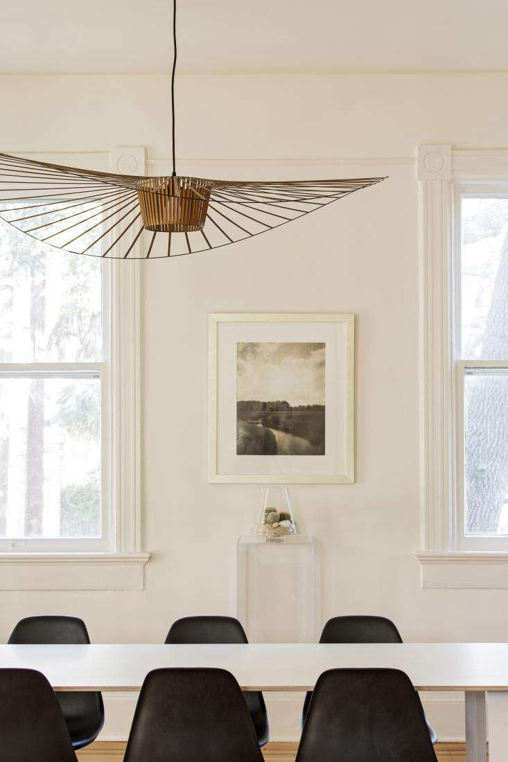 Rather than install harsh overhead lights, the team sourced a Vertigo Pendant Lamp by Parisian designer Constance Guisset from the MoMA Design Store.