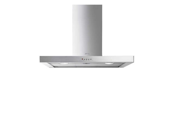 The Smeg Flat 36-Inch Wall-Mount Chimney Hood is made in Italy and has a three-speed fan; $class=