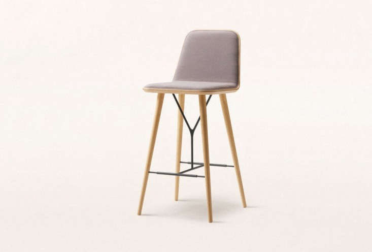 The Space Copenhagen Spine Bar Stool with a light gray leather seat is $loading=