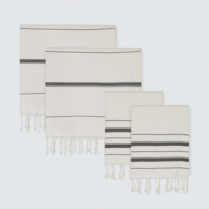 Sahar Towels are also made by hand in Morocco, this time woven from 0 percent Egyptian cotton. The ivory-and-black striped towels are $30 for a hand towel and $55 for a bath towel.
