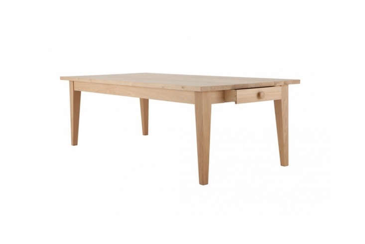10 Easy Pieces Modern Farmhouse Dining Tables The solid oak \1\10 centimeter wide (43 inch wide)Wardour Dining Table is on sale for £5,895 (\$7,743) at Conran in the UK.