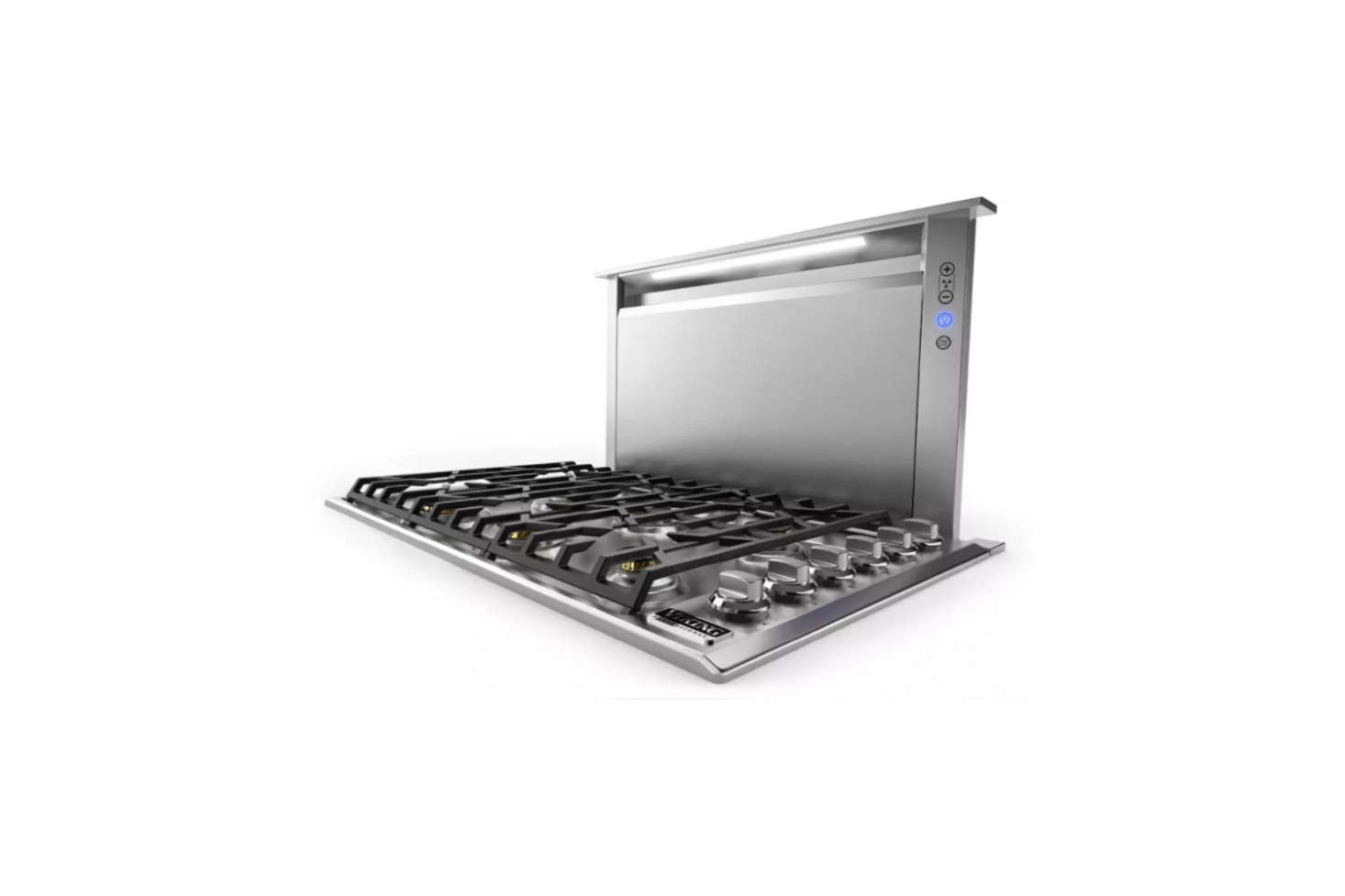 A downdraft ventilation unit is integrated into the kitchen island. The Viking Professional 5 Series Downdraft Ventilation System (VDD5360SS) at $src=