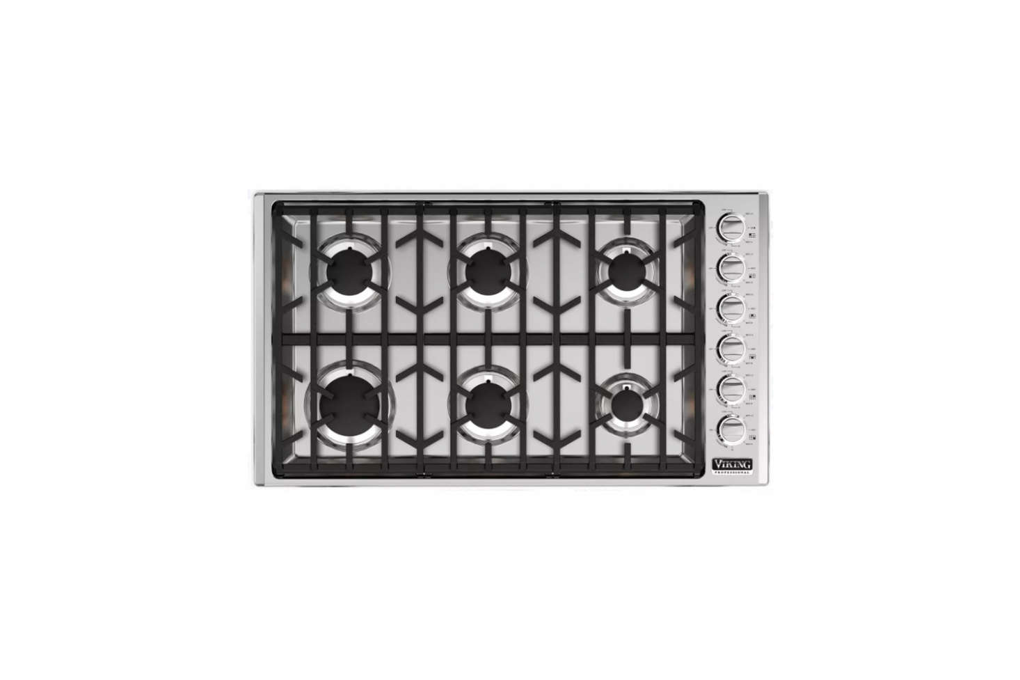 The Viking Professional 5 Series 36-Inch Gas Cooktop (VGSU5366BSS) at $src=