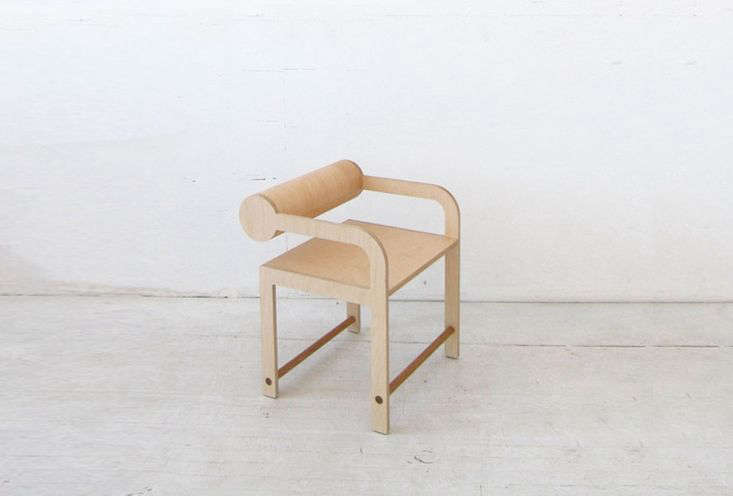 Los Angeles designer Shin Okuda of Waka Waka makes quirky-shaped furniture inspired by Japanese temple architecture. TheWaka Waka Contemporary Wood Cylinder Back Accent Armchair is somewhere between primitive and modern; $loading=