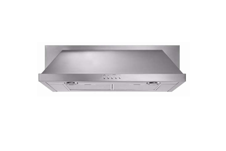Whirlpool's 36-Inch Convertible Under-Cabinet Hood has halogen task lighting (including a nightlight) and push-button controls. It switches to ductless operation without a conversion kit;$499 at AJ Madison.