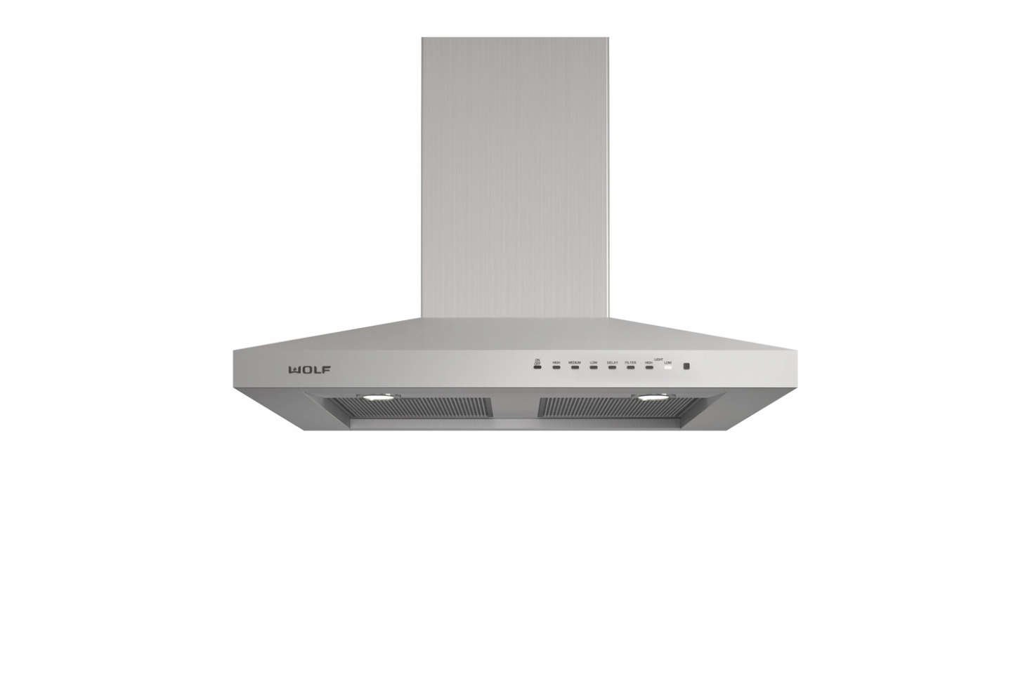 The Wolf 36-Inch Wall-Mount Chimney Range Hood has a high power blower, dishwasher-safe filters, LED lighting, and a telescoping chimney that reaches most ceiling heights. Contact AJ Madison for pricing and availability.