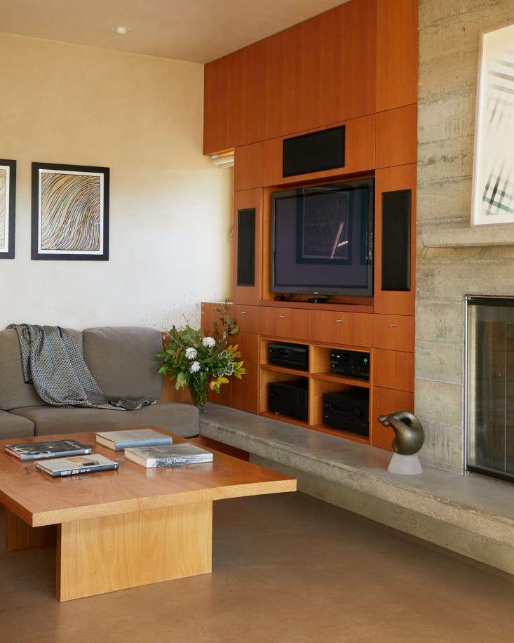 baker lane media room wood shelving tv