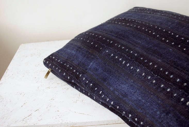 blue indigo stripe pillow calmachica