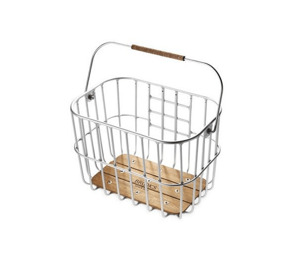 From Brooks, another icon English biking company known for its beautiful leather seats/saddles, comes the Hoxton Wire Basket. This modern take on a traditional bike basket features a wooden base and a leather grip;€0 ($7). In the US, it&#8