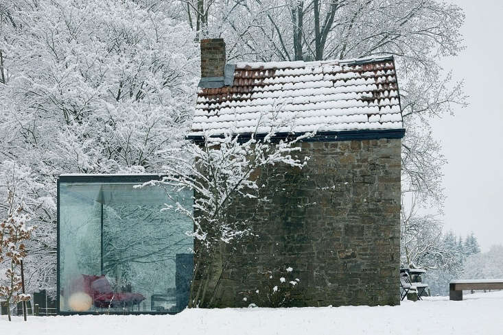 12 Favorites SnowCovered Cabins from the Remodelista Archives Belgian architect Bruno Erpicum of Atelier d&#8\2\17;Architecture Bruno & Partners transformed a historic house in the Belgian countryside with a glass enclosed living room. See more atArchitect Visit: Bruno Erpicum & Partners in Belgium.