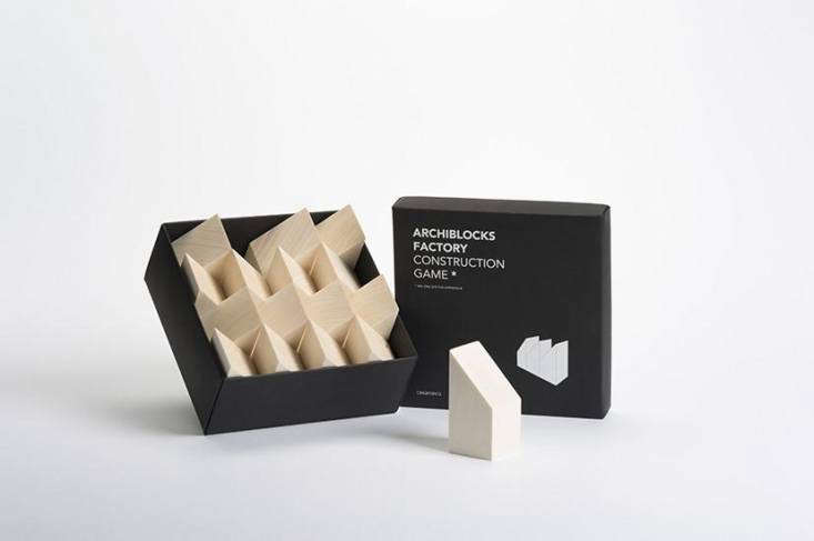 The Archiblocks Factory Construction Game contains  natural wood blocks; $65 from Placewares.