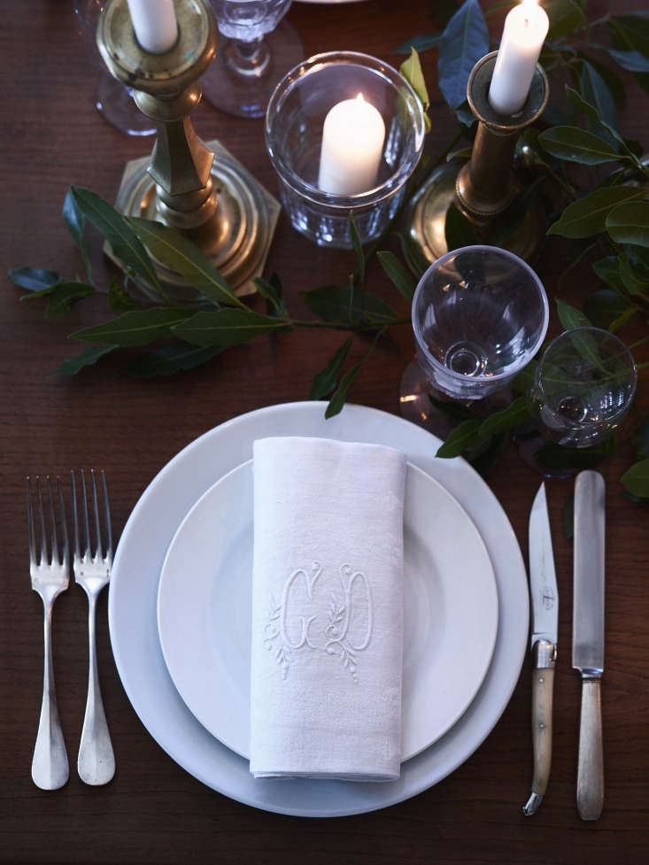 classic apilco plates (available from williams sonoma) are topped with antique  21