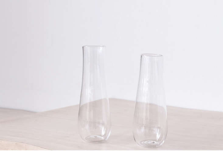 10 Easy Pieces Champagne Flutes A pair of Hand Blown Champagne Glasses is made in Portland, Oregon; \$\150 at Spartan.