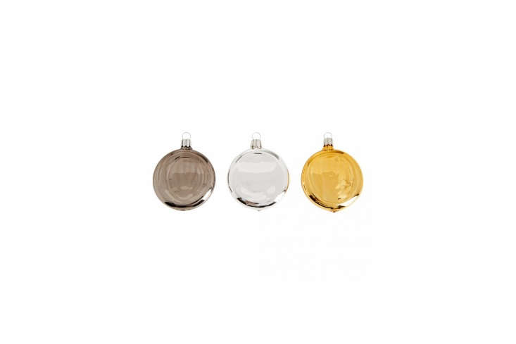 The European Metallic Disc Bauble, available in anthracite, silver, and gold, is £8 ($.73) at the Conran Shop.