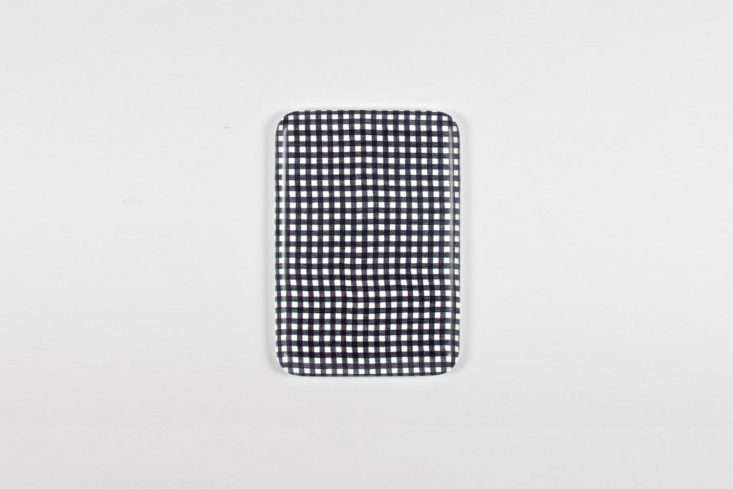 the fog linen work gingham navy check tray is available throughfog linen; \$\ 14