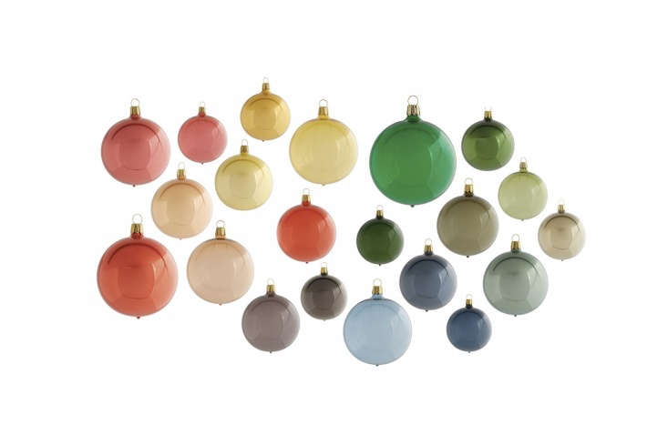 This year, Terrain is selling a range of colorful German Polished Glass Globe Ornaments for $8 each.