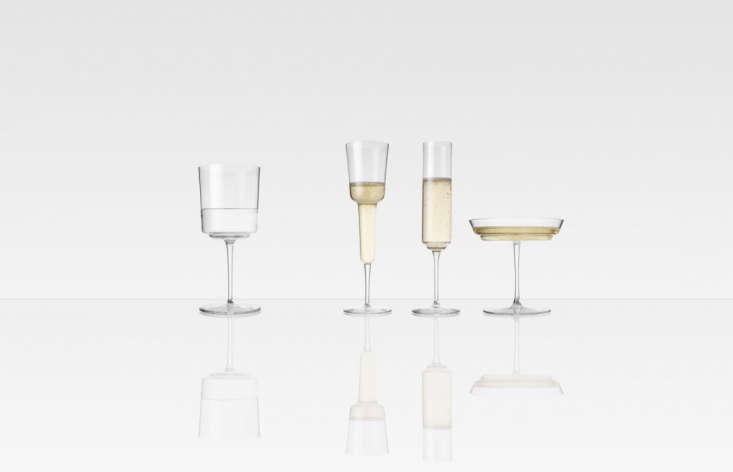 10 Easy Pieces Champagne Flutes Hand blown Champagne Glasses designed by Ilse Crawford and Michael Anastassiades; £\1\29 (\$\169) a pair from Michael Anastassiades.