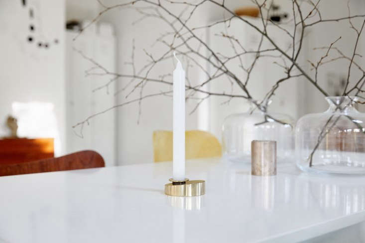 The latest from Lappalainen are a collection of handmade Brass Candleholders; $84.0loading=