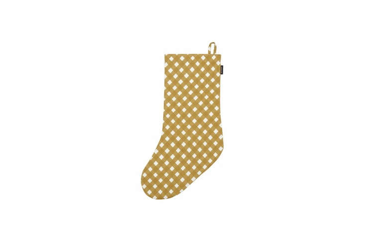 The Marimekko Okko Christmas Stocking (shown in natural/white/beige) is made of printed cotton; $.95 at Finnish Design Shop. It&#8