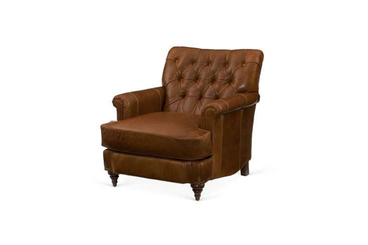 The Miles Talbott Acton Tufted Club Chair in Saddle Leather is $