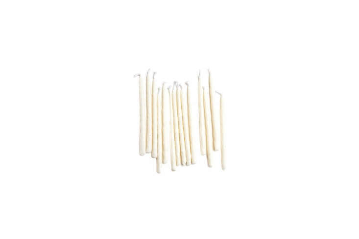 Organic Hanukkah Candles are hand-dipped in organic vegetable wax; $ for a set of 45 at ABC Carpet & Home.