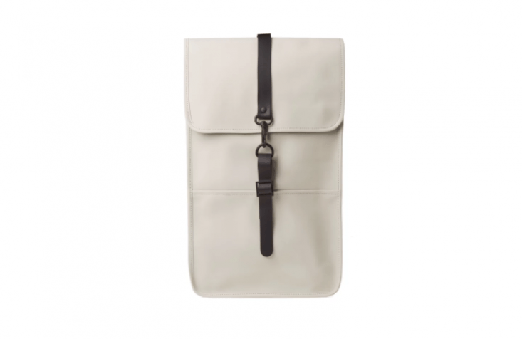 Made from water-resistant fabric, the Danish-designed Rains Backpack is both rugged and stylish. Available in smoke, black, olive, and charcoal from End; $95. The slightly smaller Rains Mini Backpack is also available in a myriad of colors; 549 DKK ($86.59).