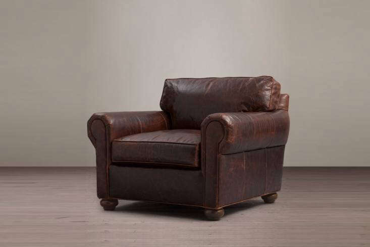 The Restoration Hardware Original Lancaster Leather Chair is available in a variety of colored leathers; $loading=