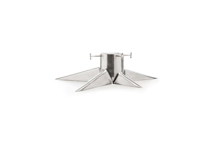 TheRoot Christmas Tree Stand in lightweight aluminum is $4 at Royal Design. It also comes in shiny white, shiny black, and matte black.