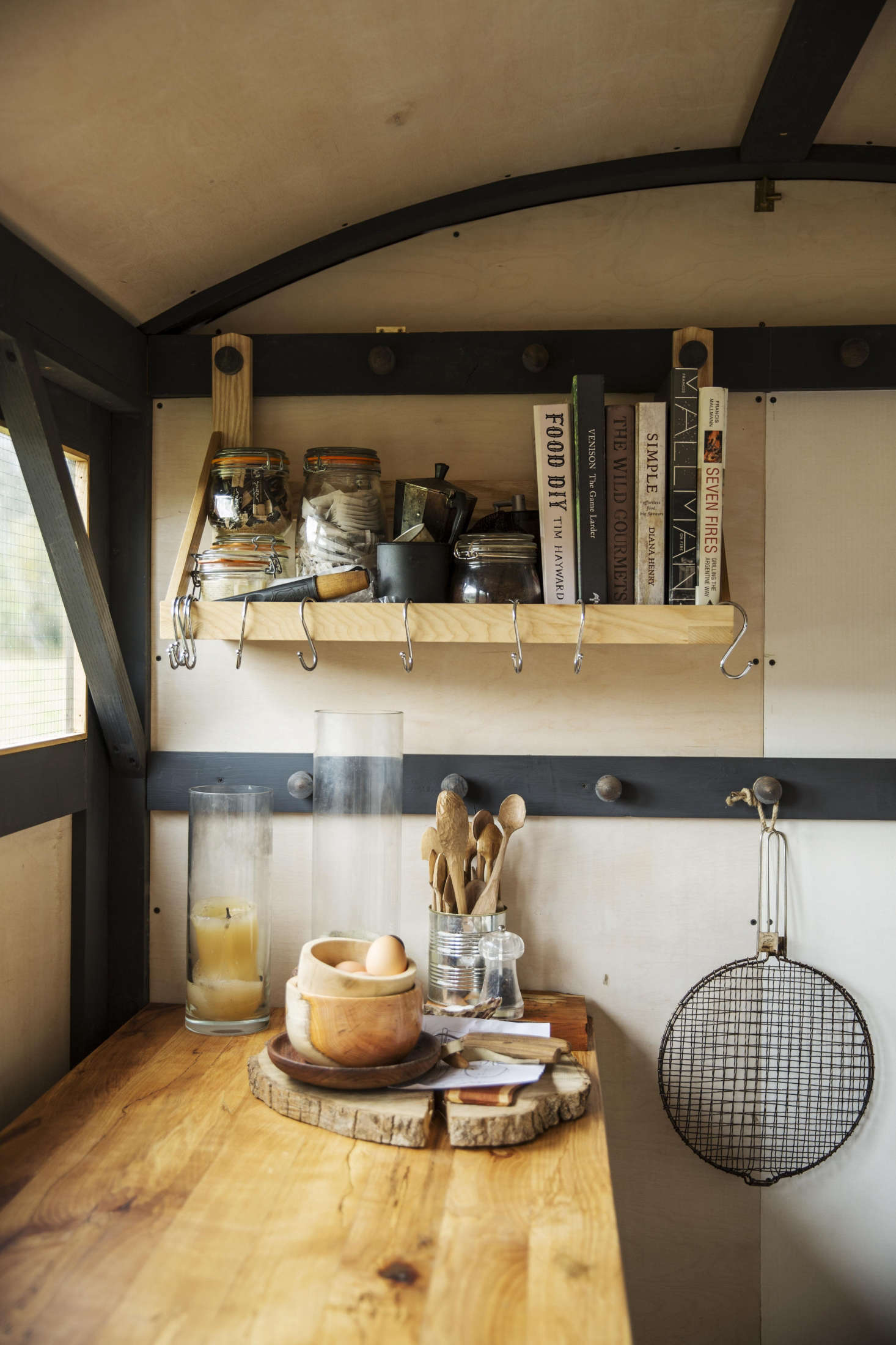 Butcher block counters are a durable option for a mobile, outdoor kitchen; see Stockpot and Two Smoking Barrels: A Rustic Kitchen in a Shepherd's Hut in England. Photograph by Emma Lewis.