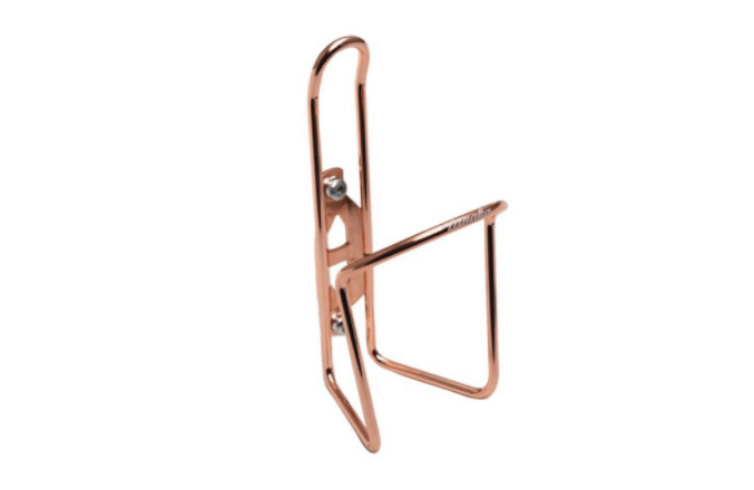 Designed in Japan, Tanaka's Copper Bottle Cage adds a bit of bling for your bike. Available at Linus for $.
