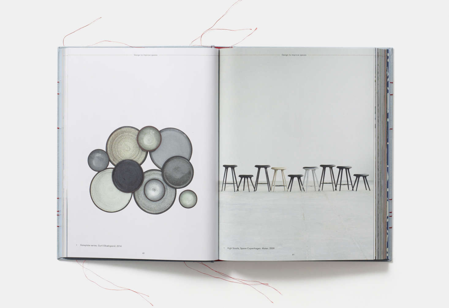 Slateplate pottery byGurli Elbaekgaard andHigh stools designed by Space Copenhagen.