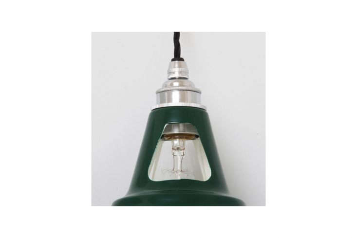 A detail of the craftsmanship. Shown: the Industrial Style Pendant with Open Dome, available in  powder-coated finishes, including this deep green; €8 ($0.).