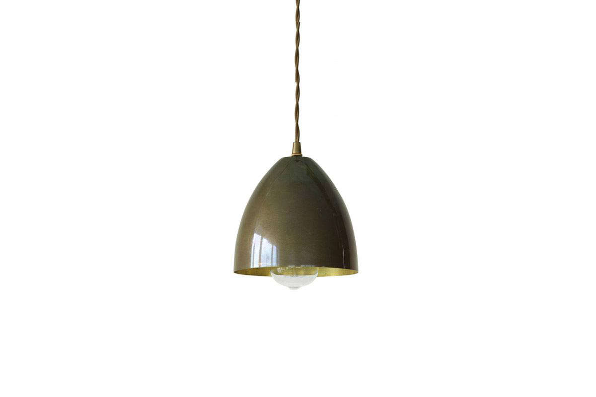 The Small Handmade Brass Pendulum Lamp is also well-patinated and &#8