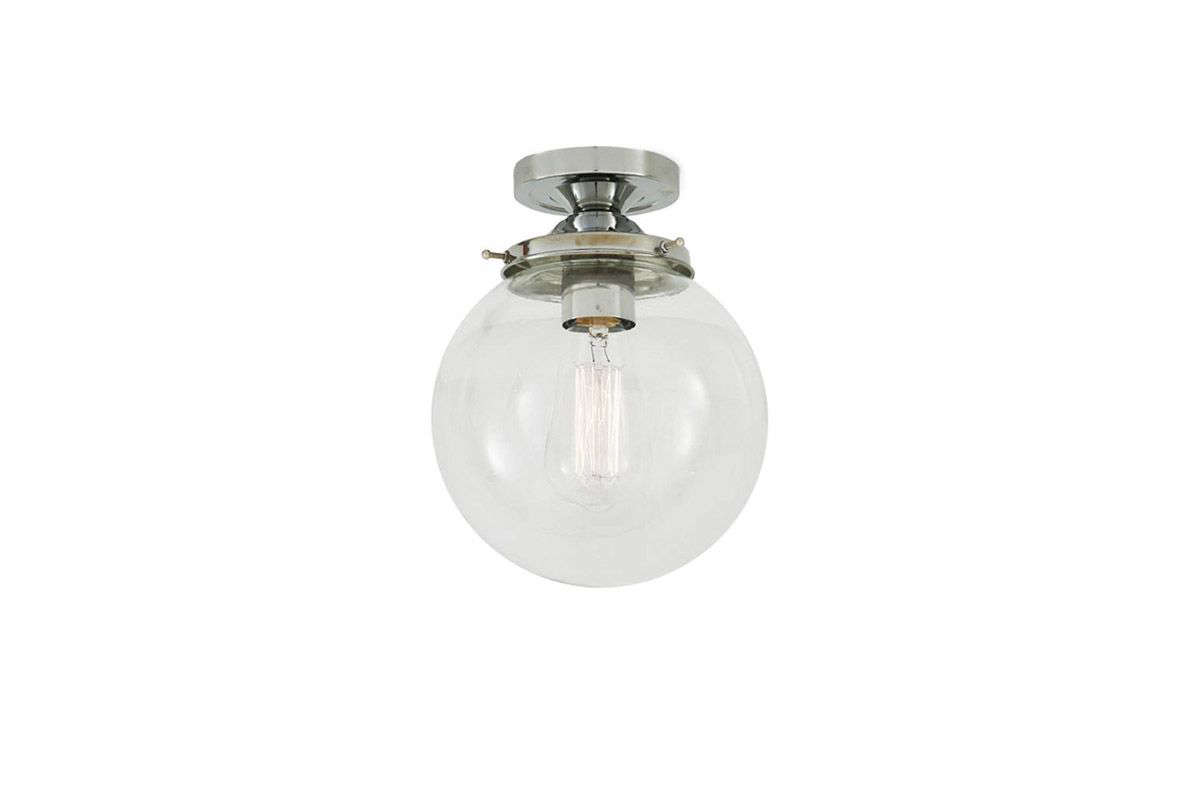 We particularly like the vintage-styleTimeless Glass Globe Ceiling Light, which comes in three sizes ( centimeters,  centimeters, and 30 centimeters in diameter) and six finishes; from €94 ($src=