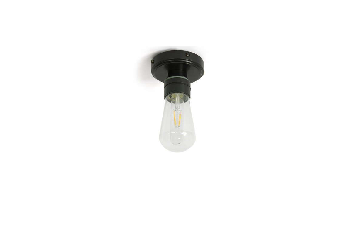 A simple silhouette: TheWaterproof Ceiling Lamp has aglass bulb cover and is available in six finishes (including matte black, shown); €5 ($