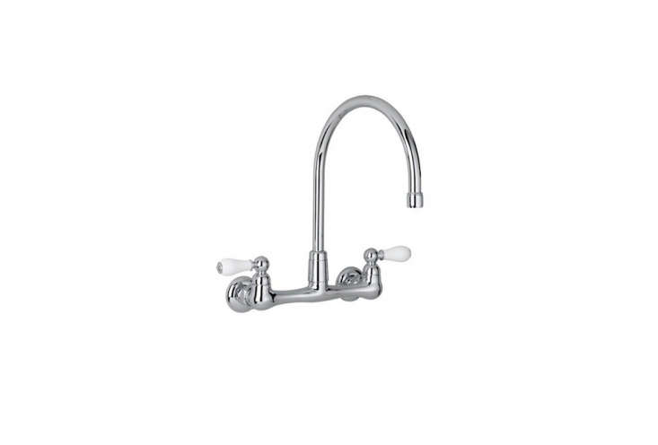 TheAmerican Standard Two-Handled Wall Mount Faucet has all-brass construction, porcelain handles, and a gooseneck swivel spout; $
