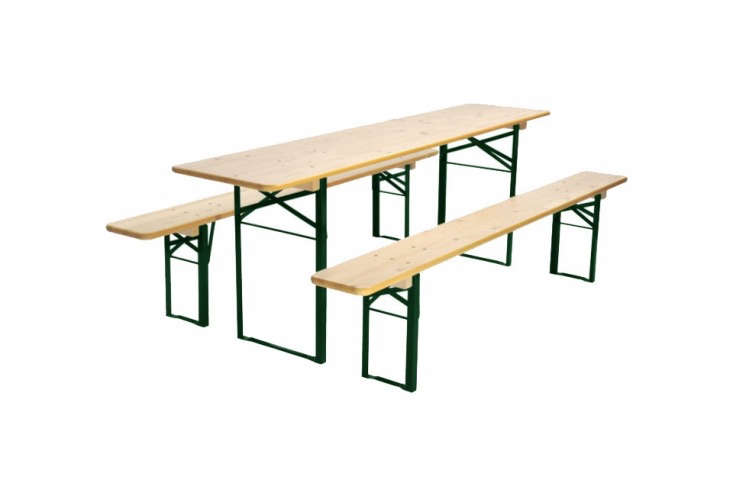 The Standard Beer Garden Table with a green base and pine top is $439 at Beer Garden Furniture. For more ideas, see The Gardenista 0: Biergarten Tables.
