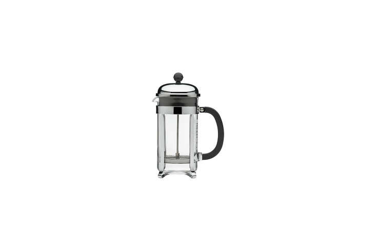 The Bodum Chambord 34-Ounce French Press is stocked in the wood crates above the countertop. It&#8