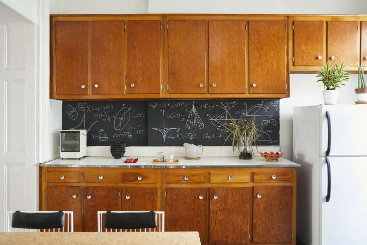 Designer C.S. Valentin created a chalkboard backsplash in his Brooklyn kitchen. See At Home with C. S. Valentin: French Eclecticism in Cobble Hill, Brooklyn.